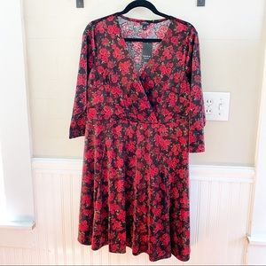 Torrid rose print faux wrap dress 1X